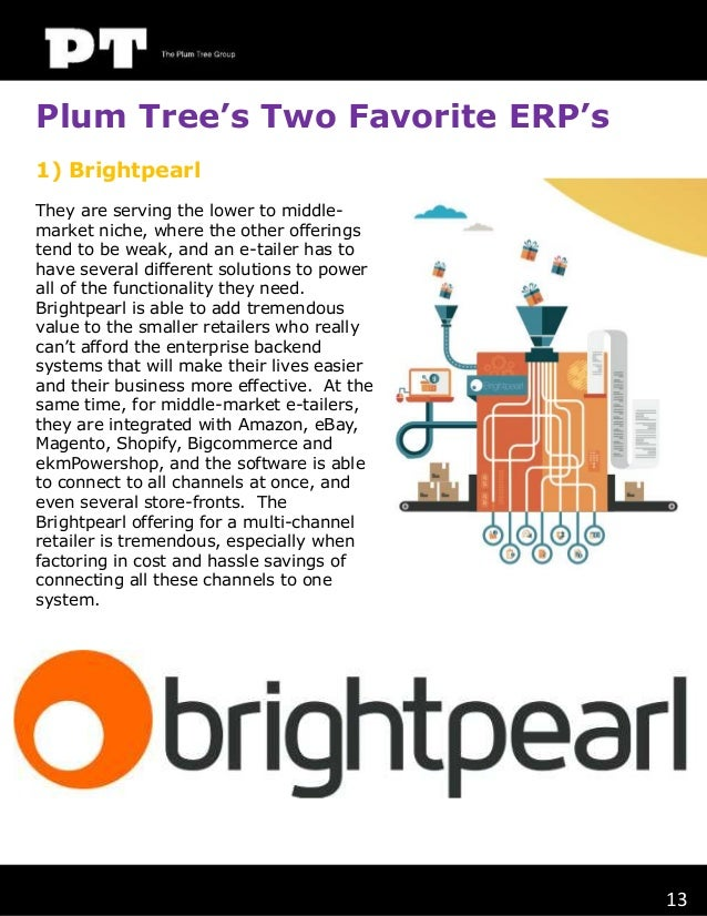 Plum Tree's Two Favorite ERP's 1) Brightpearl They are serving the lower to middlemarket niche, where the other offerings ...