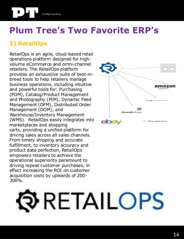 Plum Tree's Two Favorite ERP's 2) RetailOps RetailOps is an agile, cloud-based retail operations platform designed for hig...