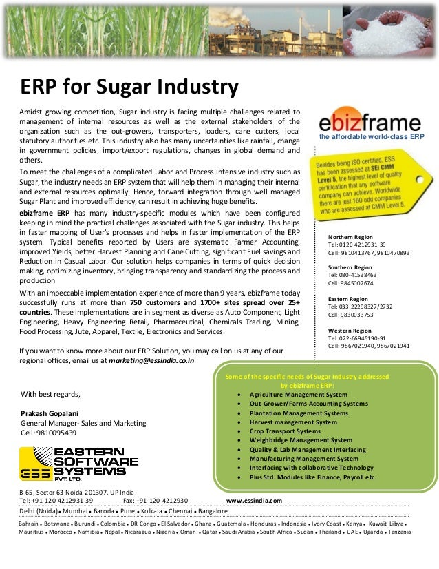 ERP for Sugar Industry - ESSIndia