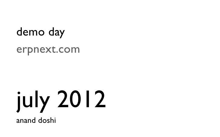 demo dayerpnext.comjuly 2012anand doshi