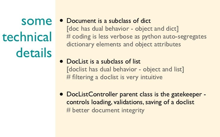 some • Document is abehavior -of dict and dict]          [doc has dual                          subclass                  ...