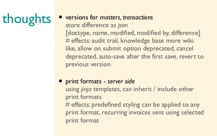 thoughts store difference as json        • versions for masters, transactions                  [doctype, name, modified, mo...