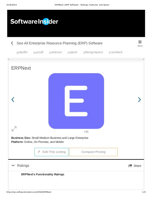 22/6/2016 ERPNext | ERP Software - Ratings, Features, and Specs http://erp.softwareinsider.com/l/592/ERPNext 1/5 ERPNext B...