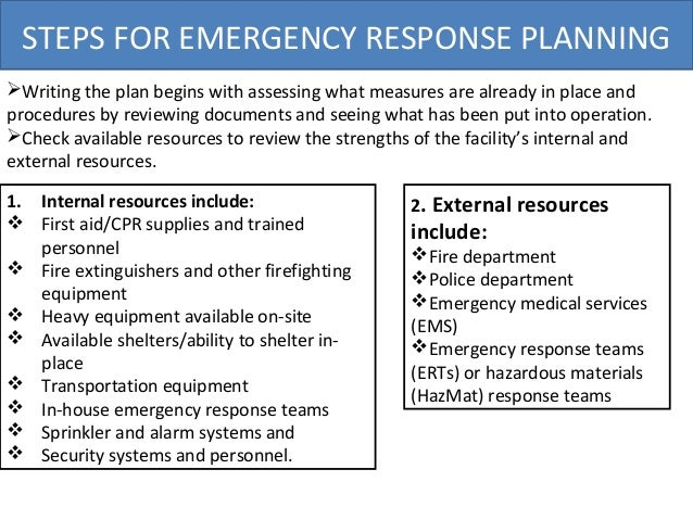 Osha emergency response plan for Emergency preparedness and response plan template
