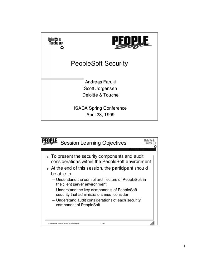 PeopleSoft Security                                                         Andreas Faruki                                ...
