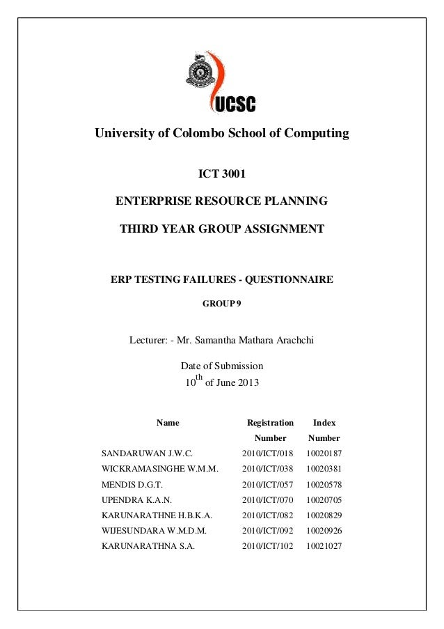 University of Colombo School of Computing ICT 3001 ENTERPRISE RESOURCE PLANNING THIRD YEAR GROUP ASSIGNMENT ERP TESTING FA...