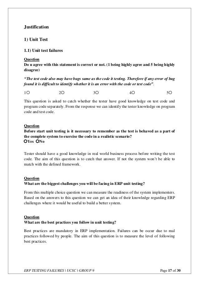 ERP Testing Failures - Questionnaire