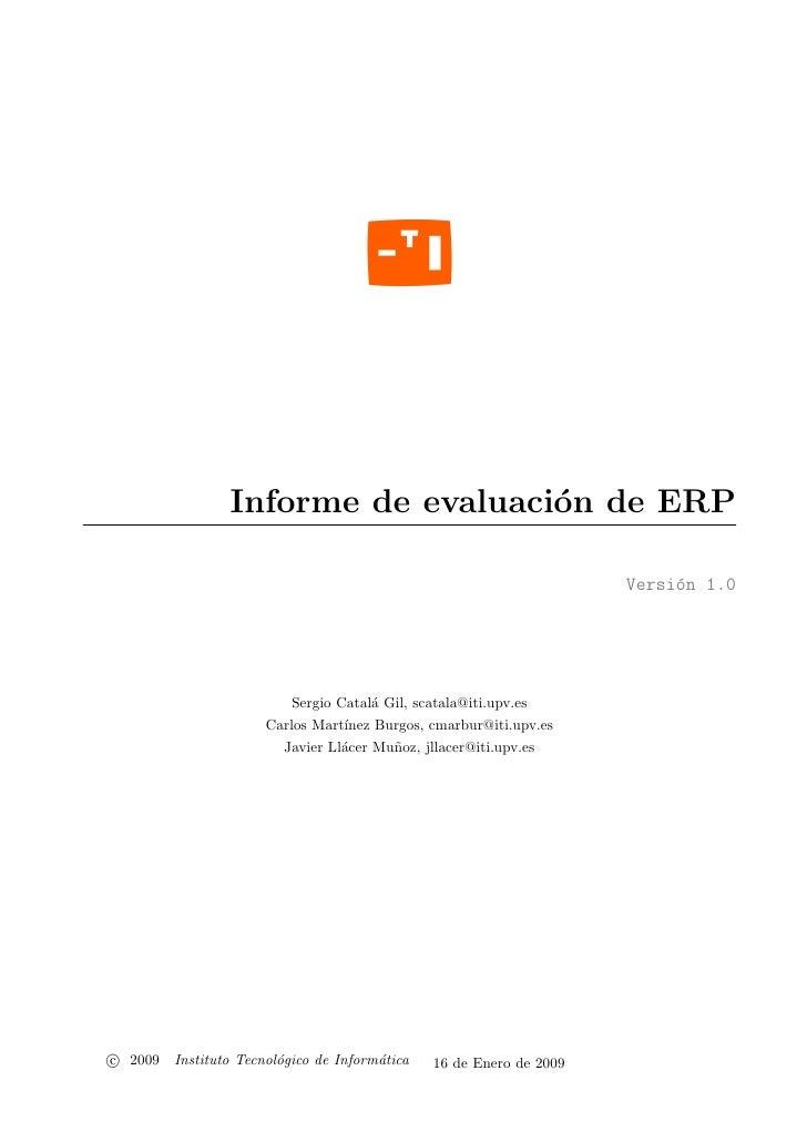 Informe de evaluaci´n de ERP                                     o                                                        ...