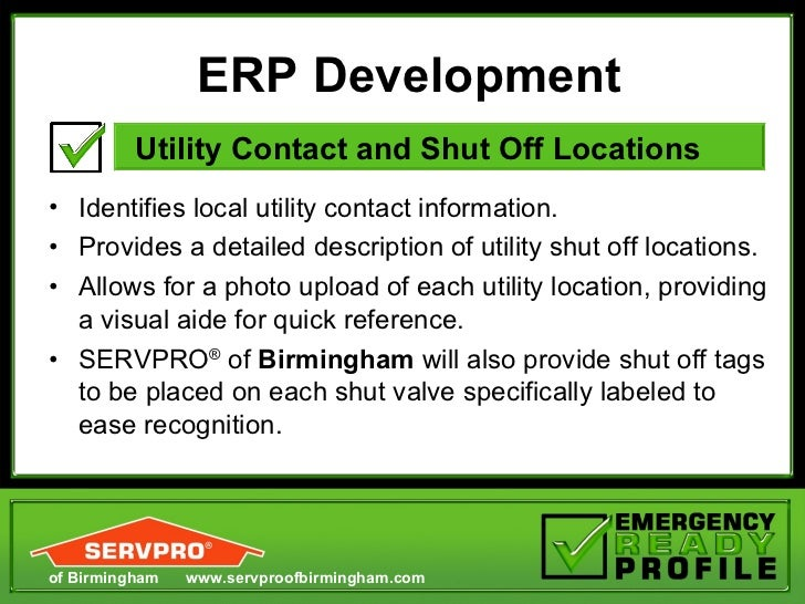 Servpro Of Birmingham: SERVPRO Emergency Ready Proficle