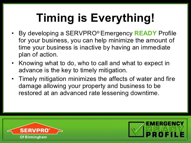 Servpro Of Birmingham: Emergency Ready Profile (ERP