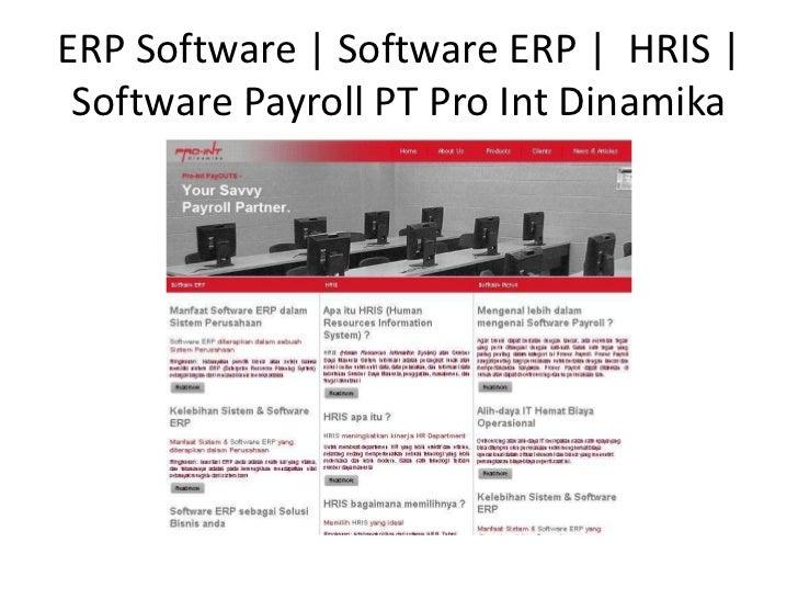 ERP Software | Software ERP | HRIS | Software Payroll PT Pro IntDinamika<br />