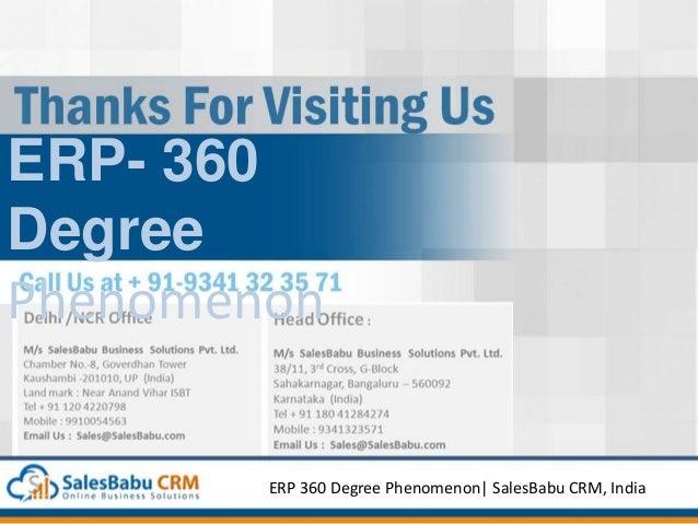 ERP- 360 Degree Phenomenon ERP 360 Degree Phenomenon  SalesBabu CRM, India