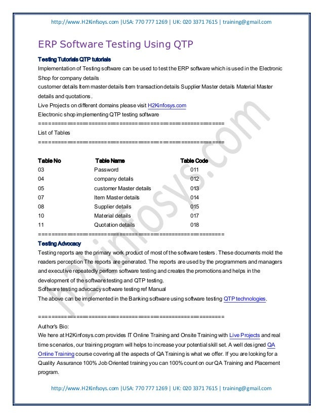 http://www.H2Kinfsoys.com  USA: 770 777 1269   UK: 020 3371 7615   training@gmail.comERP Software Testing Using QTPTesting...