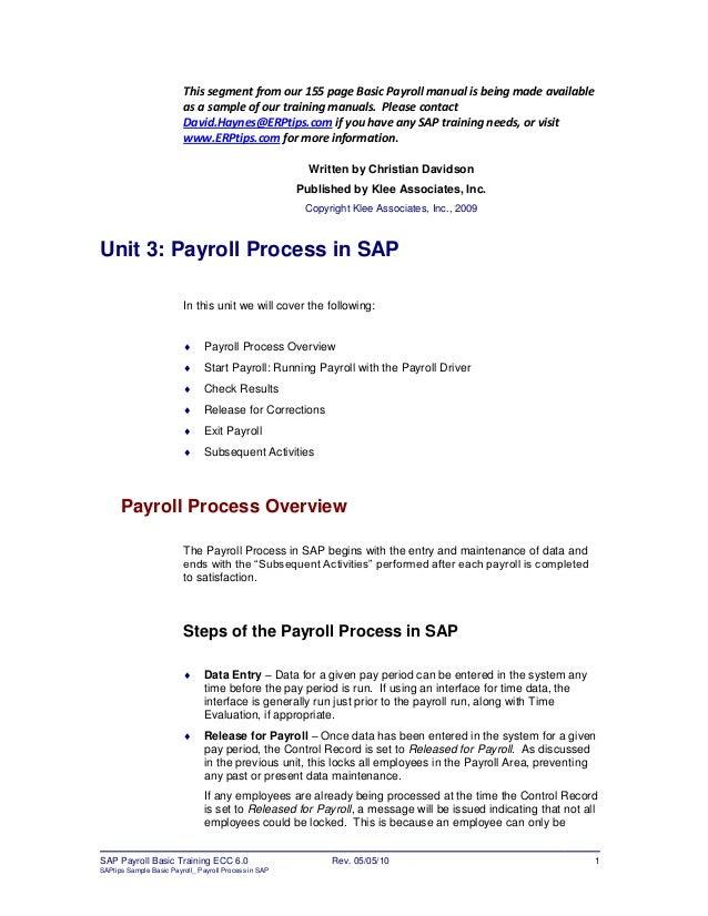 erptips sap training manual sample chapter from basic payroll rh slideshare net Word 'Sap Manual sap training manual template