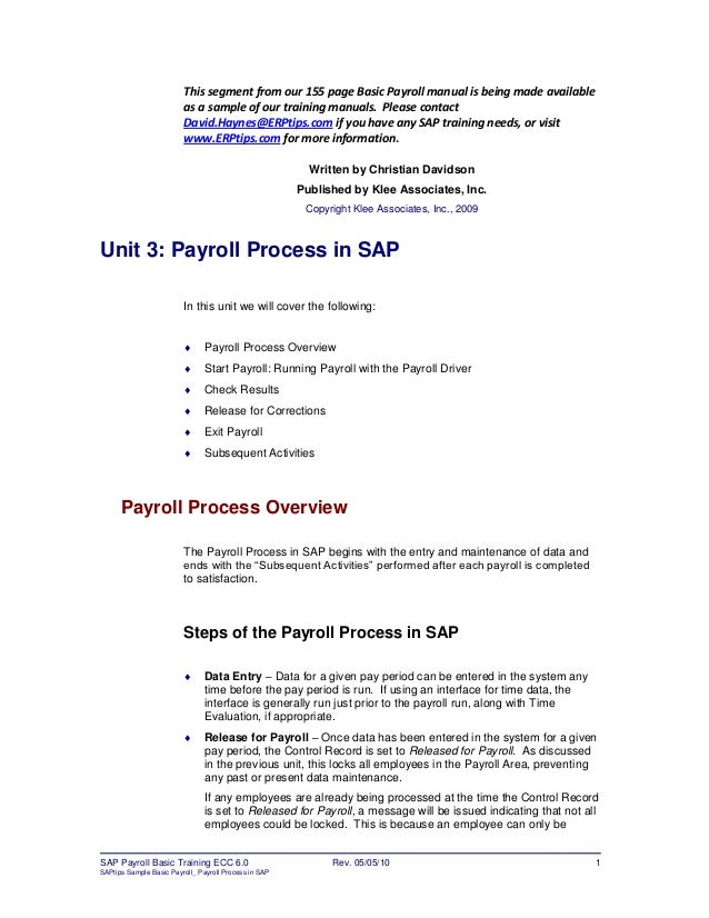 erptips sap training manual sample chapter from basic payroll