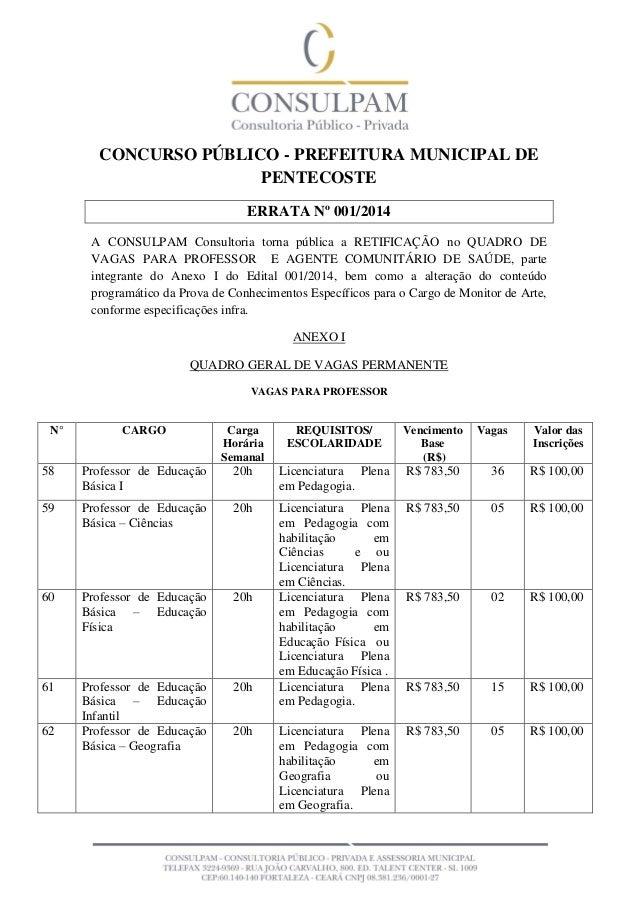 CONCURSO PÚBLICO - PREFEITURA MUNICIPAL DE PENTECOSTE ERRATA Nº 001/2014 A CONSULPAM Consultoria torna pública a RETIFICAÇ...