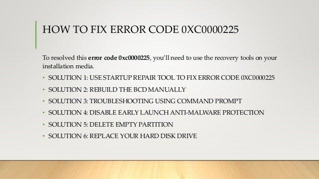 Error code 0xC0000225: Windows 10 boot fails