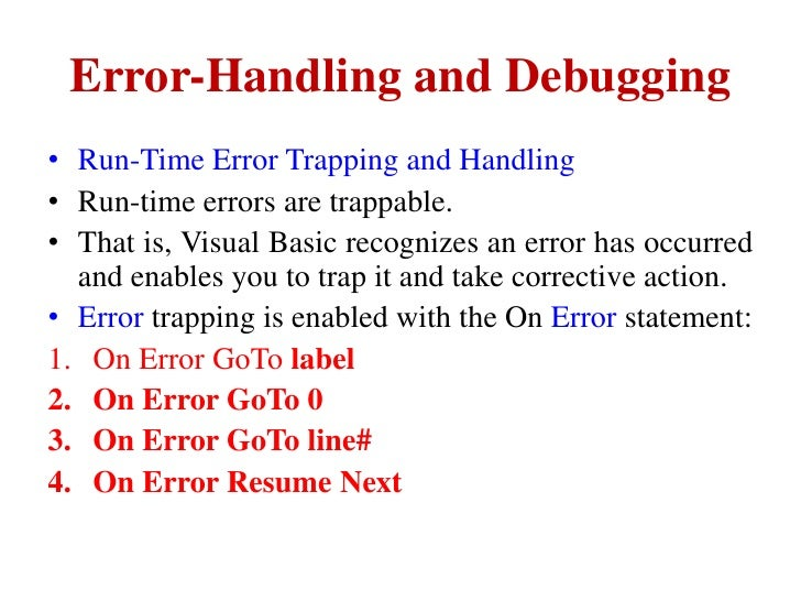 Error handling and debugging in vb