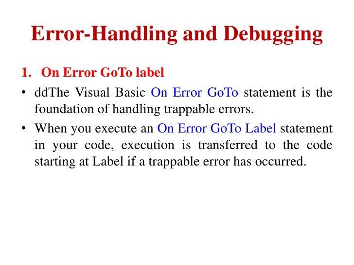 error handling and debugging in vb