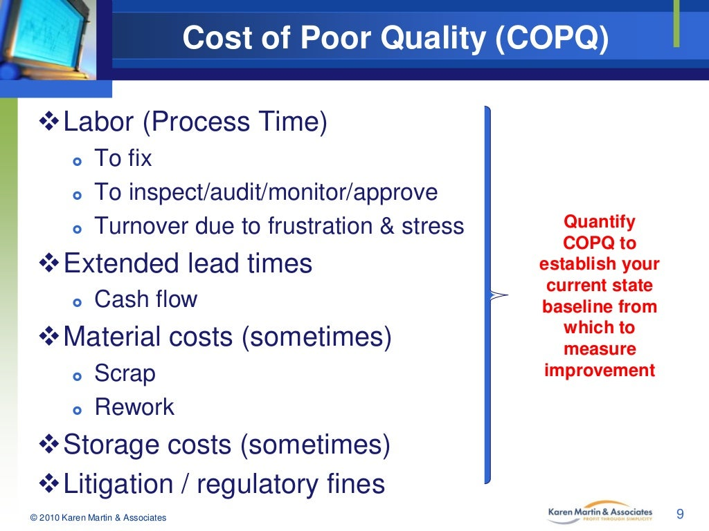 using copq to drive cost improvement A succinct definition of copq is any cost cost of poor process and product quality tools such as factory automation will enable companies to continue to drive.