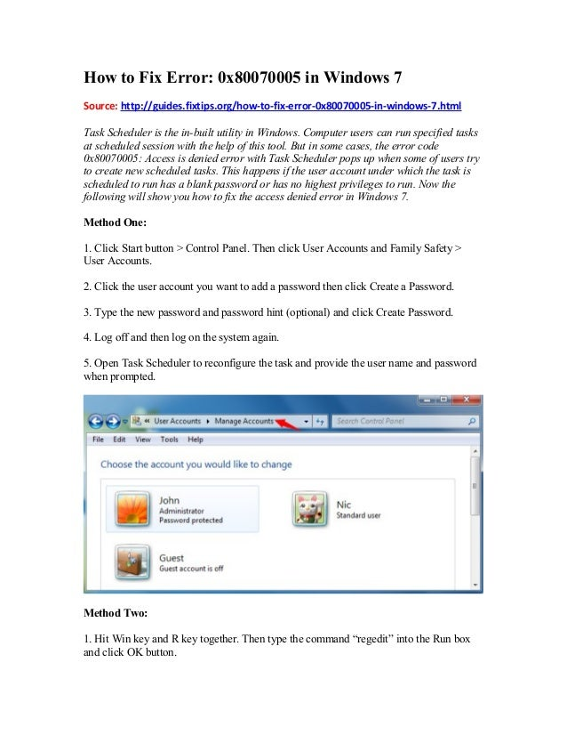 How to Fix Error: 0x80070005 in Windows 7