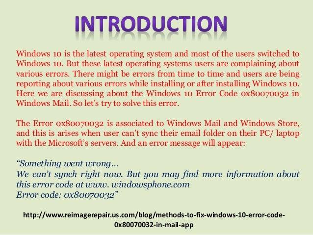 Fix: Windows 10 Error Code 0x80070032 in Mail App