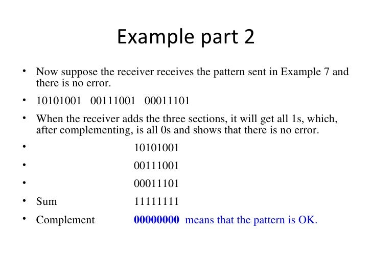 Error Control Parity Check Check Sum Vrc