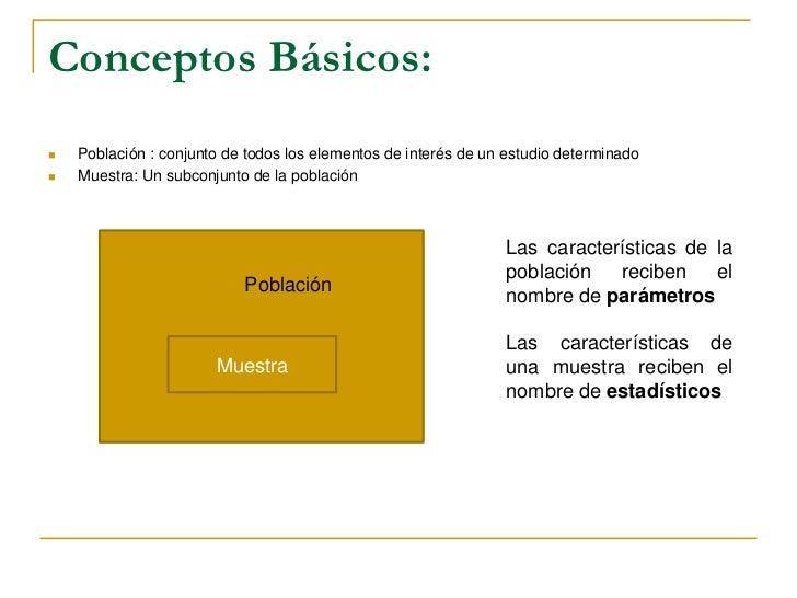 Conceptos Básicos:<br />Población : conjunto de todos los elementos de interés de un estudio determinado<br />Muestra: Un ...
