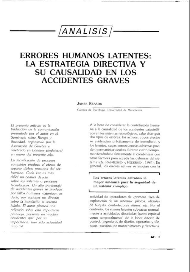 ERRORES HUMANOS LATENTES:       LA ESTRATEGIA DIRECTIVA Y         S U CAWSALIDAD EN LOS           ACCIDENTES GRAVES       ...