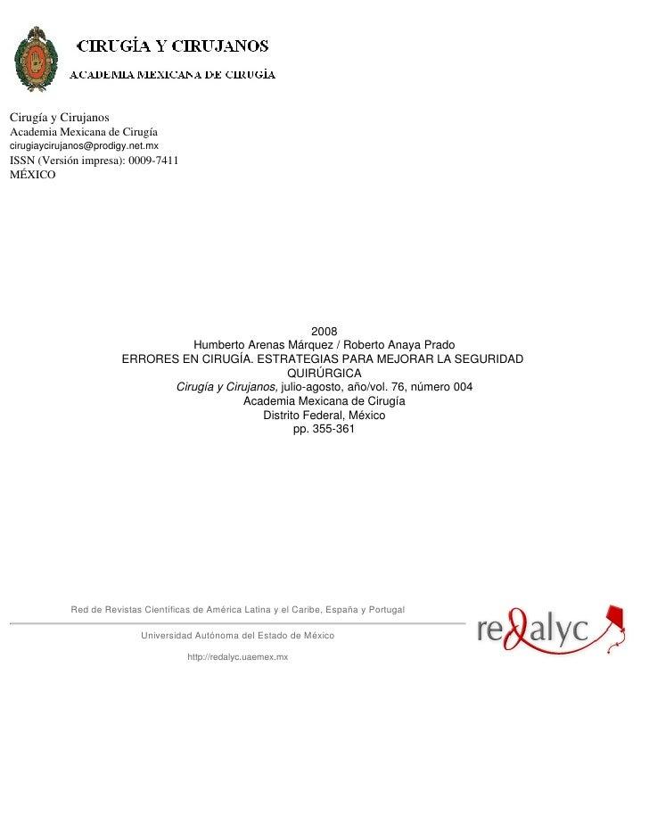 Cirugía y CirujanosAcademia Mexicana de Cirugíacirugiaycirujanos@prodigy.net.mxISSN (Versión impresa): 0009-7411MÉXICO    ...