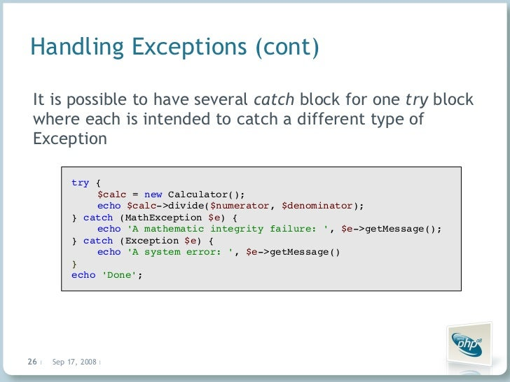 php catch exception
