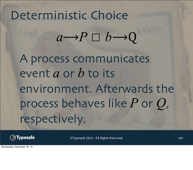 Deterministic Choice  a⟶P ☐ b⟶Q  ©Typesafe 2014 – All Rights Reserved  109  A process communicates  event a or b to its  e...