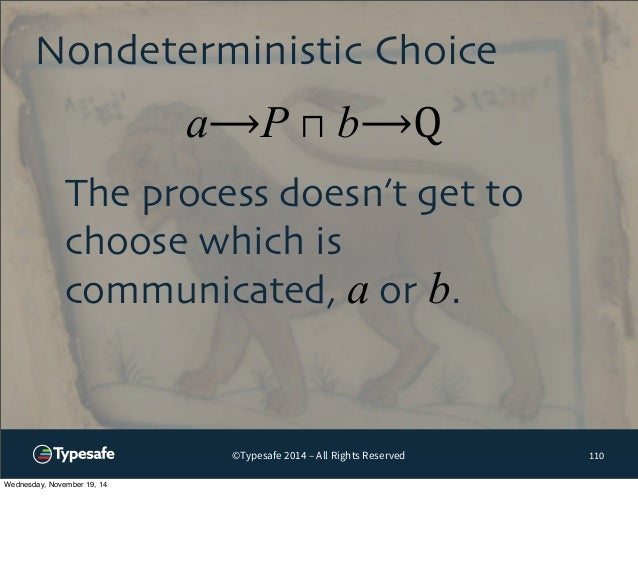 Nondeterministic Choice  a⟶P ⊓ b⟶Q  ©Typesafe 2014 – All Rights Reserved  110  The process doesn't get to  choose which is...