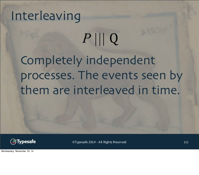 Interleaving  P ||| Q  ©Typesafe 2014 – All Rights Reserved  111  Completely independent  processes. The events seen by  t...