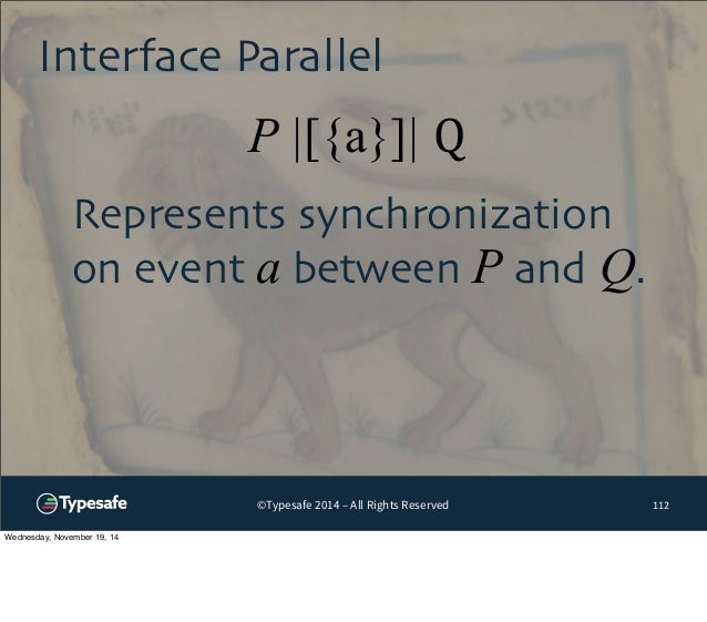 Interface Parallel  P |[{a}]| Q  ©Typesafe 2014 – All Rights Reserved  112  Represents synchronization  on event a between...