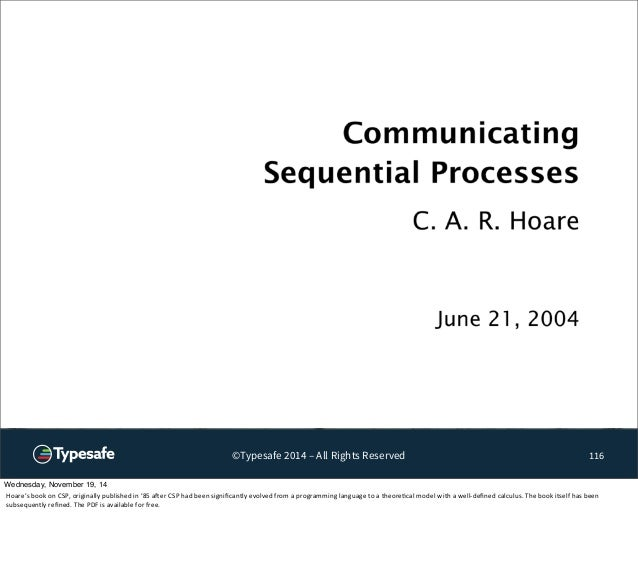 ©Typesafe 2014 – All Rights Reserved 116  Wednesday, November 19, 14  Hoare's  book  on  CSP,  originally  published  in  ...