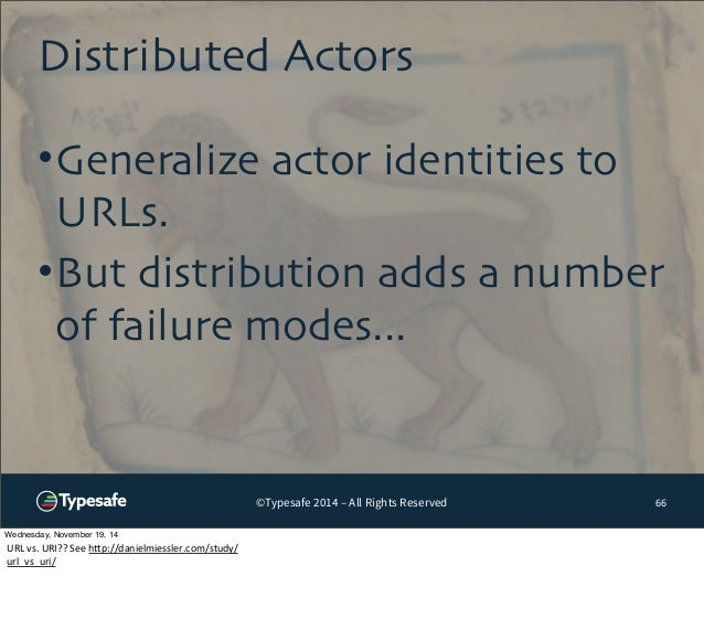 Distributed Actors  •Generalize actor identities to  URLs.  •But distribution adds a number  of failure modes...  ©Typesaf...