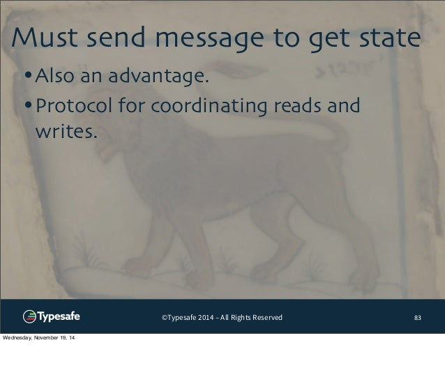 Must send message to get state  ©Typesafe 2014 – All Rights Reserved  83  •Also an advantage.  •Protocol for coordinating ...