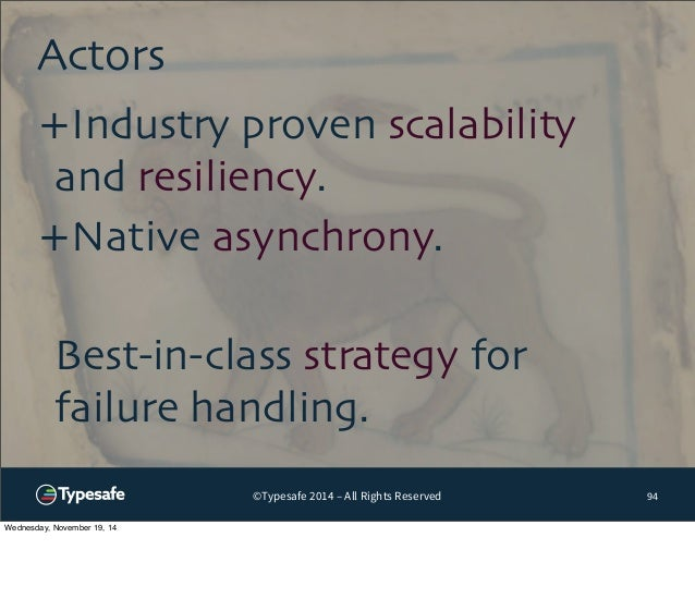 ©Typesafe 2014 – All Rights Reserved  Actors  94  +Industry proven scalability  and resiliency.  +Native asynchrony.  Best...