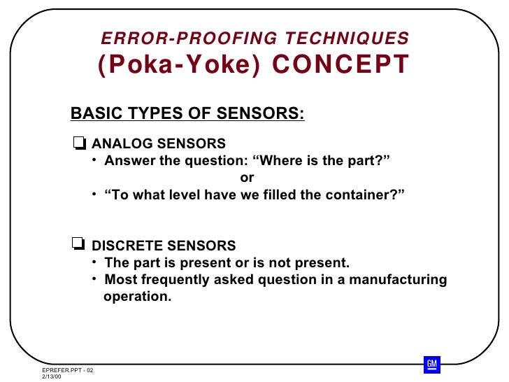 Error Proofing Technique Poka Yoke