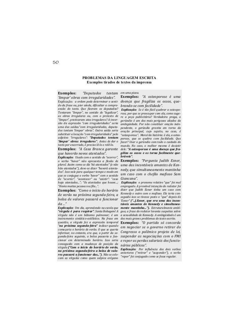 """PROBLEMAS DA LINGUAGEM ESCRITA                     Exemplos tirados de textos da imprensaExemplos:           """"Deputados te..."""