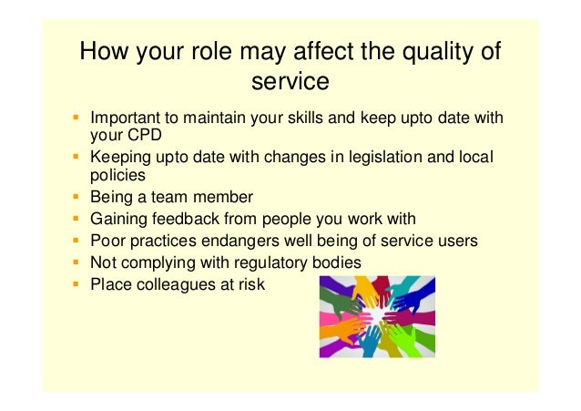 explain how own role fits within the delivery of the service provider Understand employment responsibilities and explain how own role fits within the delivery of the service explain the effect of own role on service.