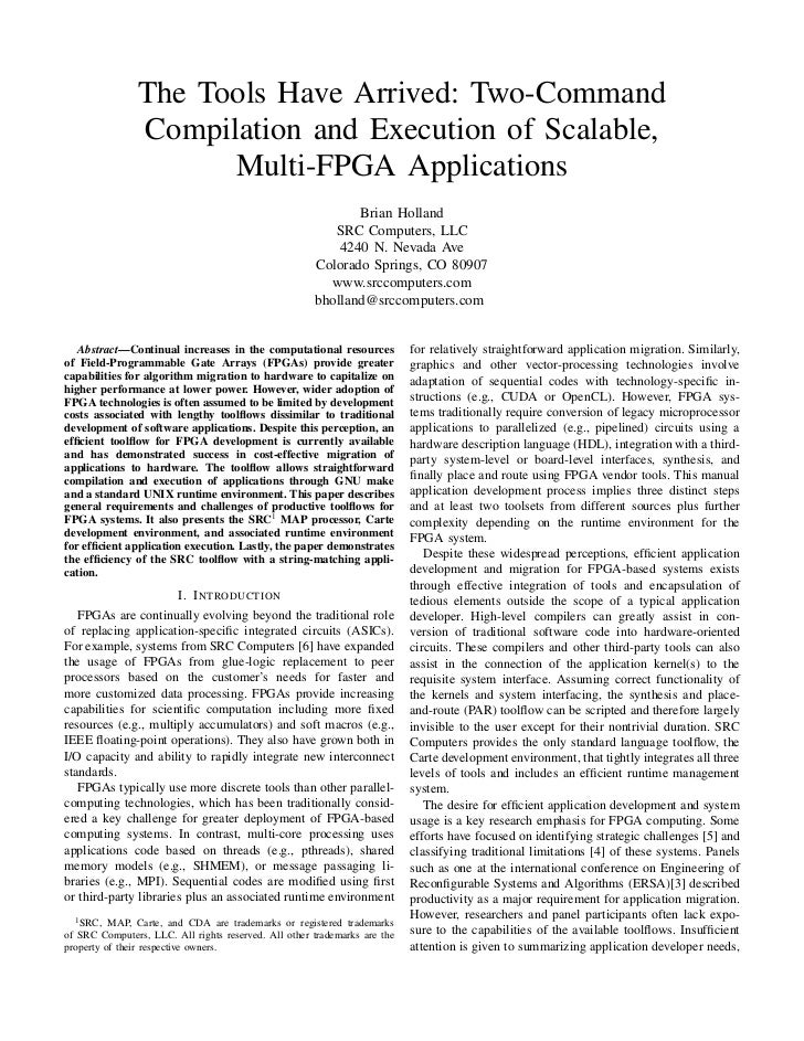 The Tools Have Arrived: Two-Command                Compilation and Execution of Scalable,                      Multi-FPGA ...