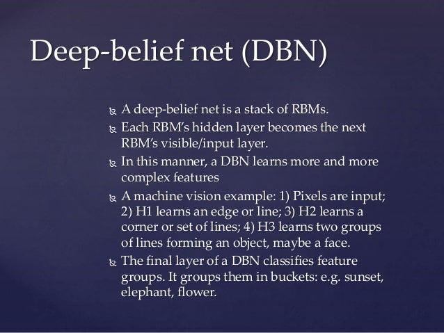  A deep-belief net is a stack of RBMs.  Each RBM's hidden layer becomes the next RBM's visible/input layer.  In this ma...