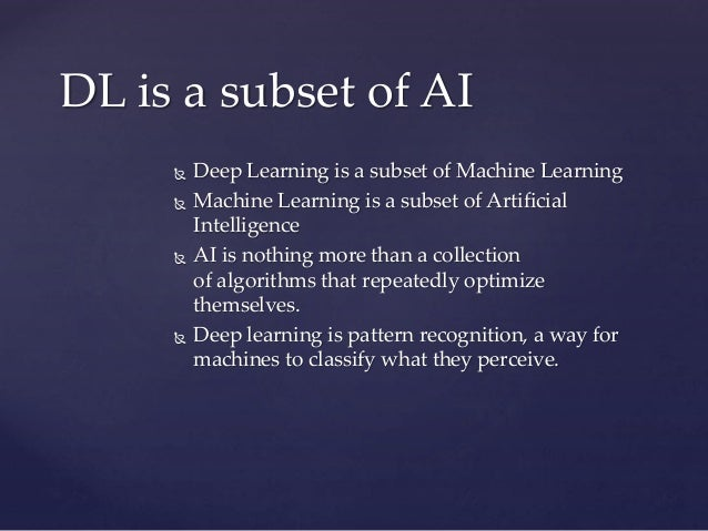  Deep Learning is a subset of Machine Learning  Machine Learning is a subset of Artificial Intelligence  AI is nothing ...