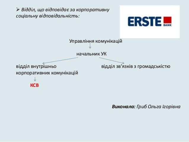  Відділ, що відповідає за корпоративнусоціальну відповідальність:                      Управліннѐ комунікацій            ...