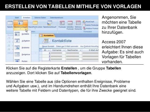 Niedlich Microsoft Access 2007 Vorlagen Ideen ...