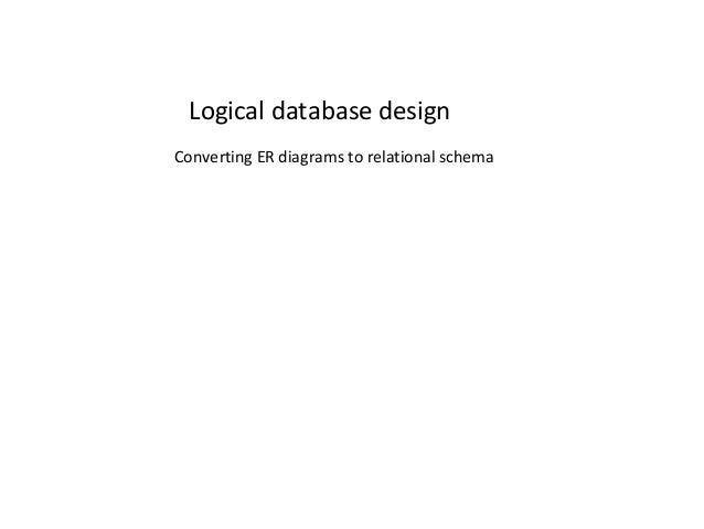 Logical database design Converting ER diagrams to relational schema