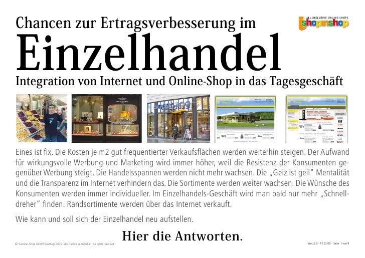 Chancen zur Ertragsverbesserung im  Einzelhandel Integration von Internet und Online-Shop in das Tagesgeschäft     Eines i...