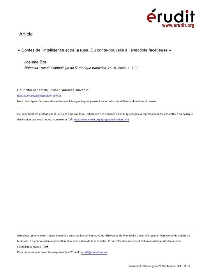 Article«Contes de l'intelligence et de la ruse. Du conte-nouvelle à l'anecdote facétieuse»      Josiane Bru      Rabaska...